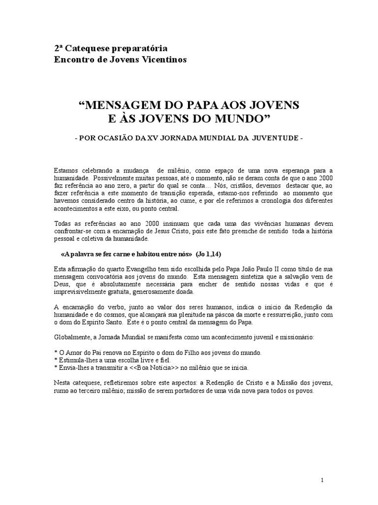Catequese Preparatória Para O Ejv Roma 2000 02