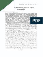 Sobre La Posibilidad Real de La Filosofía.