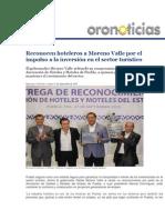 21-09-2015 Oro Noticias - Reconocen Hoteleros a Moreno Valle Por El Impulso a La Inversión en El Sector Turístico