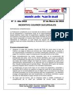 Comunicado Nacional N° 3-2015 - Incentivo courier sucursales.
