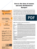 How is the time of women and men distributed in Europe?