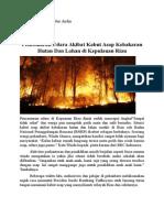Pencemaran Udara Akibat Kabut Asap Kebakaran Hutan Dan Lahan Di Kepulauan Riau