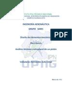 análisis térmico y estructural a un pistón previamente diseñado en un software de elemento finito (ANSYS)