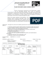 Math and Science Week Program Plan 2015