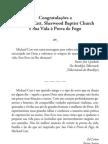 Congratulações a Michael Catt, Sherwood Baptist Church