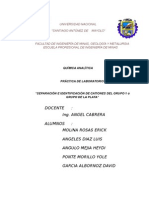 Separación e Identificación de Cationes Del Grupo 1 ó Grupo de La Plata