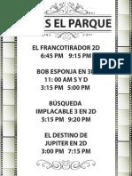 Cinemas El Parque Programacion 1 Febrero