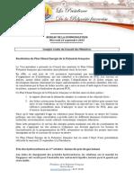 Compte Rendu Du Conseil Des Ministres - Mercredi 23 Septembre 2015