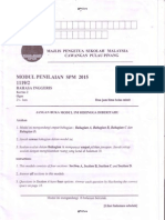 2015 Peperiksaan Percubaan  Bahasa Inggeris SPM Pulau Pinang Kertas 2