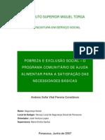 Pobreza e Exclusão Social  - PCAAC