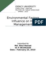 Enviromental Factors Influencing HRM Opu