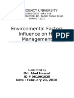 Enviromental Factors Influencing HRM Opu