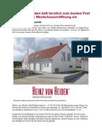 Heinz von Heiden lädt herzlich zum bunten Fest anlässlich der Musterhauseröffnung ein