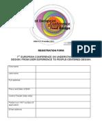 Fooddesign Registration Form 5th Sept