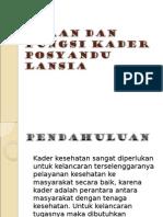 Peran Dan Fungsi Kader Posyandu Lansia