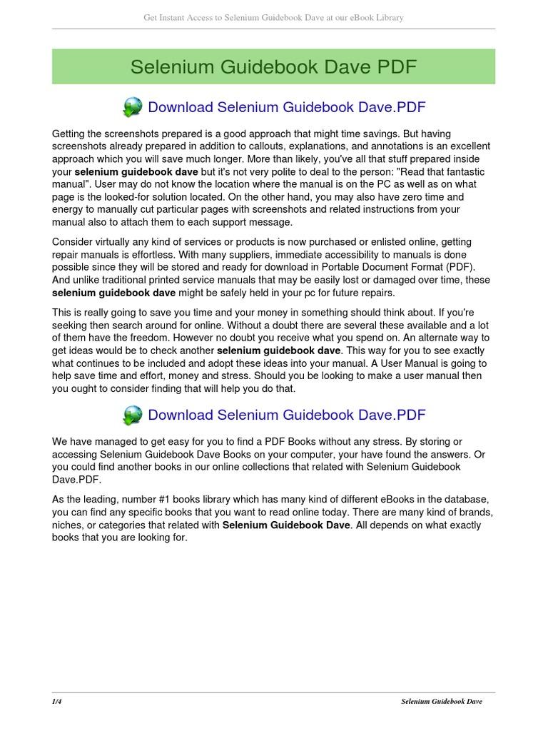 Selenium Webdriver Book Pdf