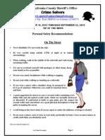 Crime Solvers Report 9-16 thru 9-22-2015