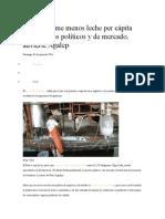 Perú Consume Menos Leche Per Cápita Por Aspectos Políticos y de Mercado