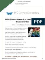 Como Diversificar Uma Carteira de Investimentos