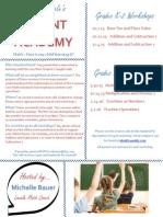 parent academy handout - math