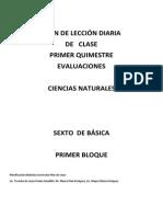 Evaluaciones Plan de Lección Diaria Clase 6to Ciencias Naturales
