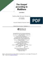 The Pillar New Testament Commentary the Gospel According to Matthew