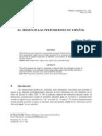 Origen Preposiciones español