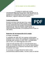 Incorporación de La Mujer en La Vida Pública Chilena