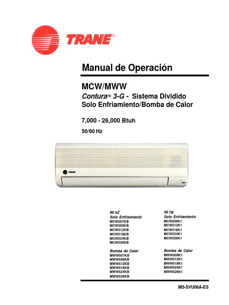 Manual de servicio y mantto a minisplit trane pdf for Manual aire acondicionado