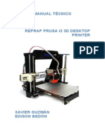 Manual Reprap Prusa i3 3d Desktop