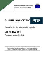 Iawlx GHIDUL SOLICITANTULUI Pentru Măsura 221 - Varianta Consultativa