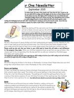 Year 1 Class Newsletter Autumn 1 2015