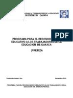 Programa Para El Reconocimiento Educativo a Los Trabajadores de La Educacion de Oaxaca