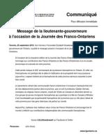 Message de la lieutenante-gouverneure à l'occasion de la Journée des Franco-Ontariens