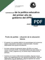 Balance de La Política Educativa Del Primer