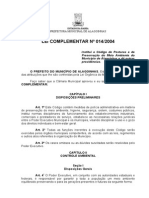 Lei Complementar 014 2004 Codigo Postura Preservação Meio Ambiente