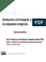 1.2. Introducci+¦n formulaci+¦n y nomenclatura de compuesttos inorganicos. . Ejercicio pr+íctico