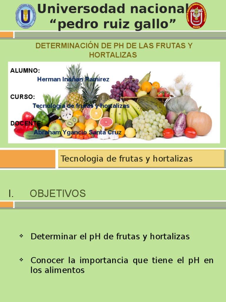 El ph de las frutas