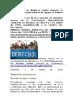 Intervencion Haidar Conferencia Internacional de Apoyo Al Pueblo Saharaui