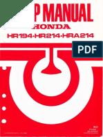 1986 - Honda HR194-HR214-HRA214 Service Manual - OCR 600dpi