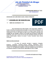 CO N.º 421 CONSELHO DISCIPLINA_MAPA DE CASTIGOS N.º 39_REUNIÃO DE 7 MAIO 2015