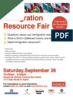 Immigration Resource Fair Flyer (Sep 26, 2015)
