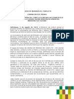 Comunicado de Prensa - Mencion Honorifica Del Mincultura