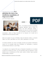 El Futuro Nos Pide Decisiones Críticas y Globales de Cara a Los Conflictos Mundiales, El Papa en La ONU