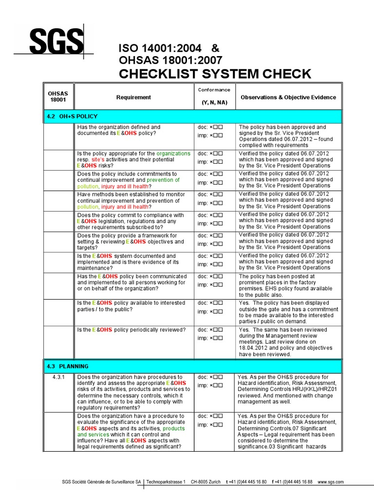 ohsas 18001 and iso 14001 system checklist occupational safety and rh scribd com OSHA 18001 Certification ISO 18001 Standard PDF