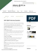 SAP ABAP Interview Question _ SAP Consultancy @ SC