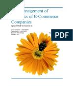 Management of logistics for E-commerce companies