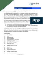 Checklist for Shareholders Agreement