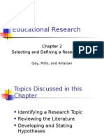 Educational Research Chapter 2 Selecting and Defining a Research Topic  Gay, Mills, and Airasian