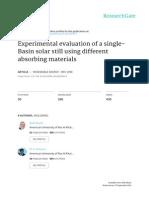33 Experimental Evaluation of a Single-basin Solar Still Using Different Absorbing Materials